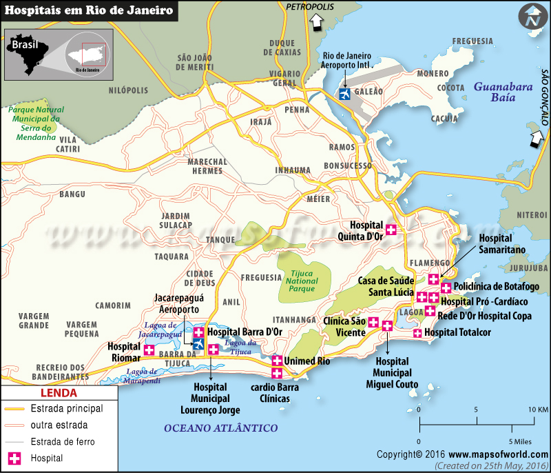 Rio de Janeiro Hospitais Mapa
