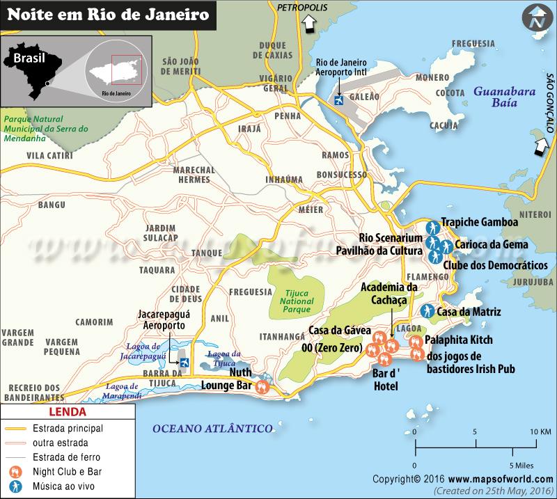 Mapa de clubes noturnos e bares Rio