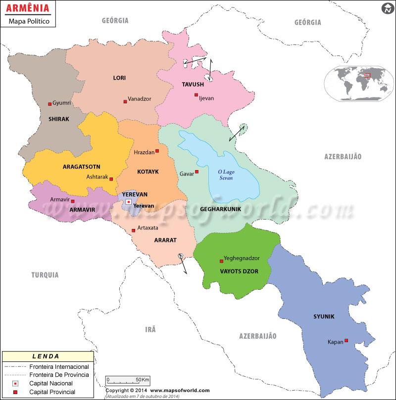 Mapa do Arménia