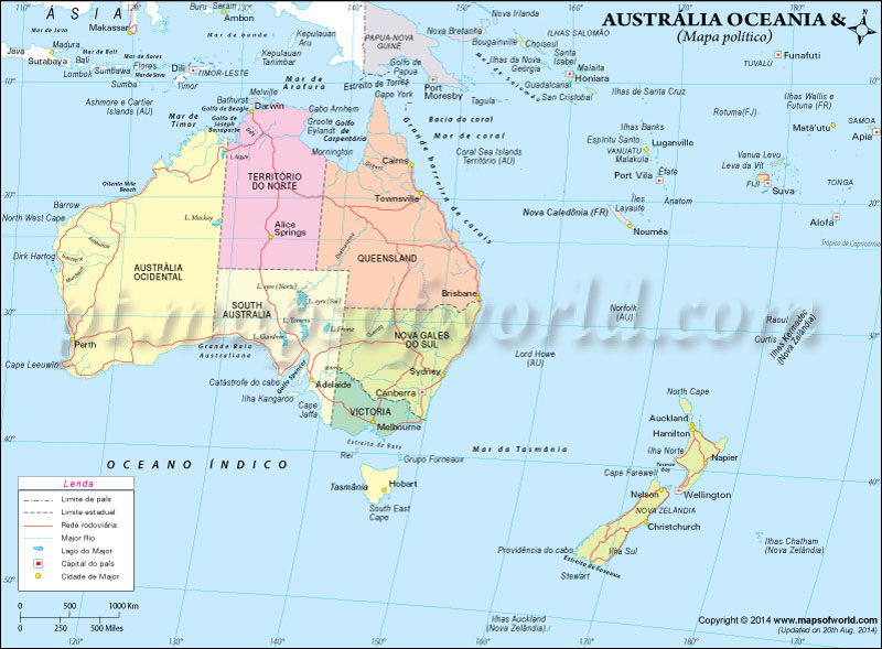 Maps Of Australia And Oceania And Oceanian Countries Political