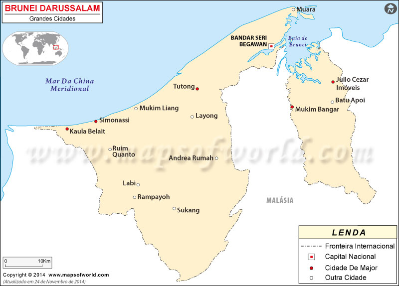 Brunei Cidades Mapa