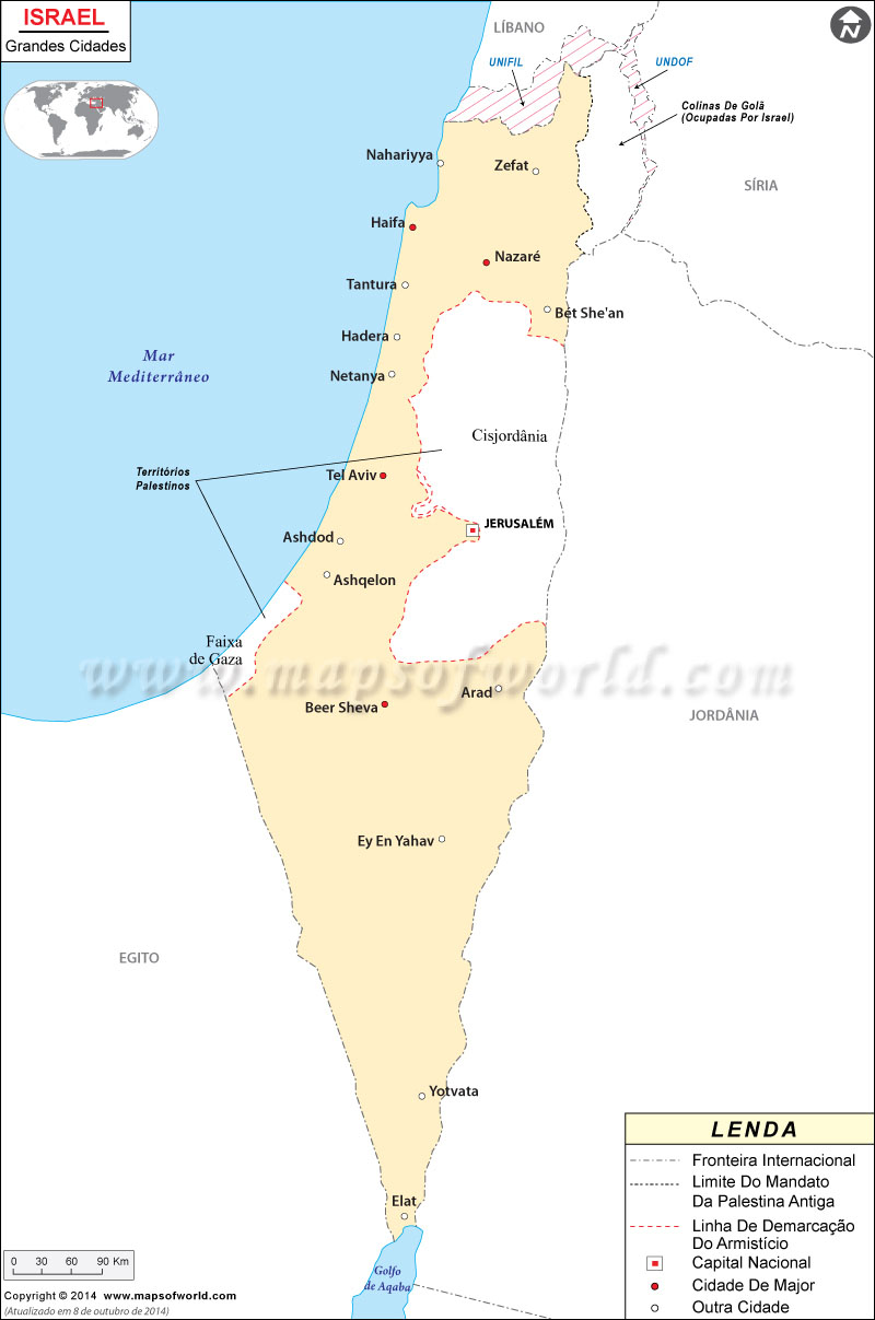 Mapa do Cidades de Israel