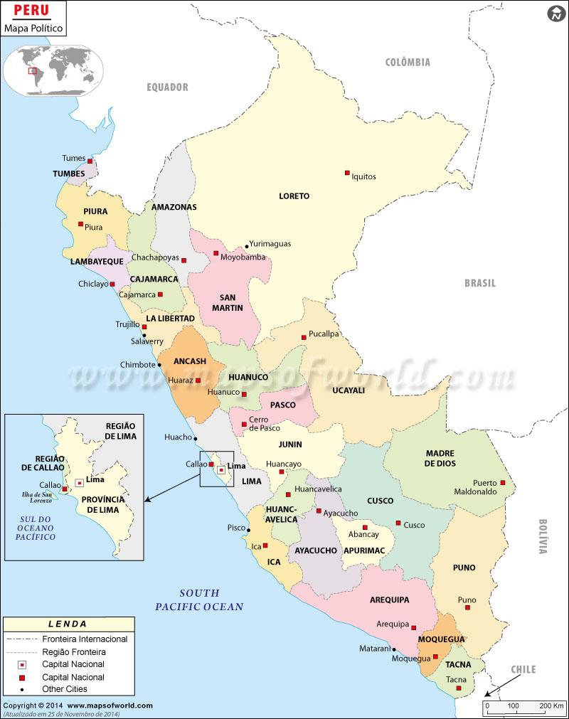 mapa do peru com cidades Peru Mapa, Mapa de Peru mapa do peru com cidades