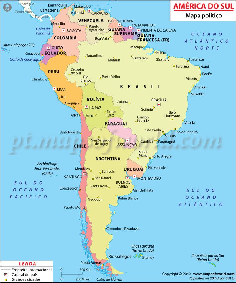 América do Sul Mapa