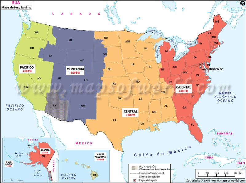 Mapa Do Fuso Horario Dos Eua A Hora Em Estados Unidos Da America