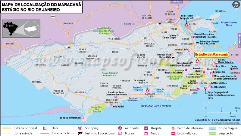 Onde está o Maracanã no Rio de Janeiro, Brasil