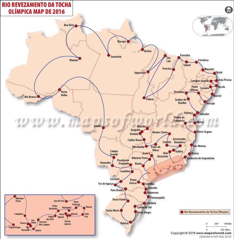 Rio Olimpíadas de 2016 Torch Relay Route Mapa