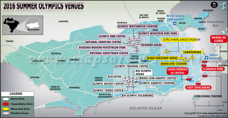 Rio 2016 recintos Olímpicos Mapa