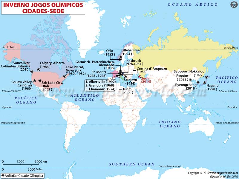 Cidades Anfitriãs dos Jogos Olímpicos de Inverno Mapa