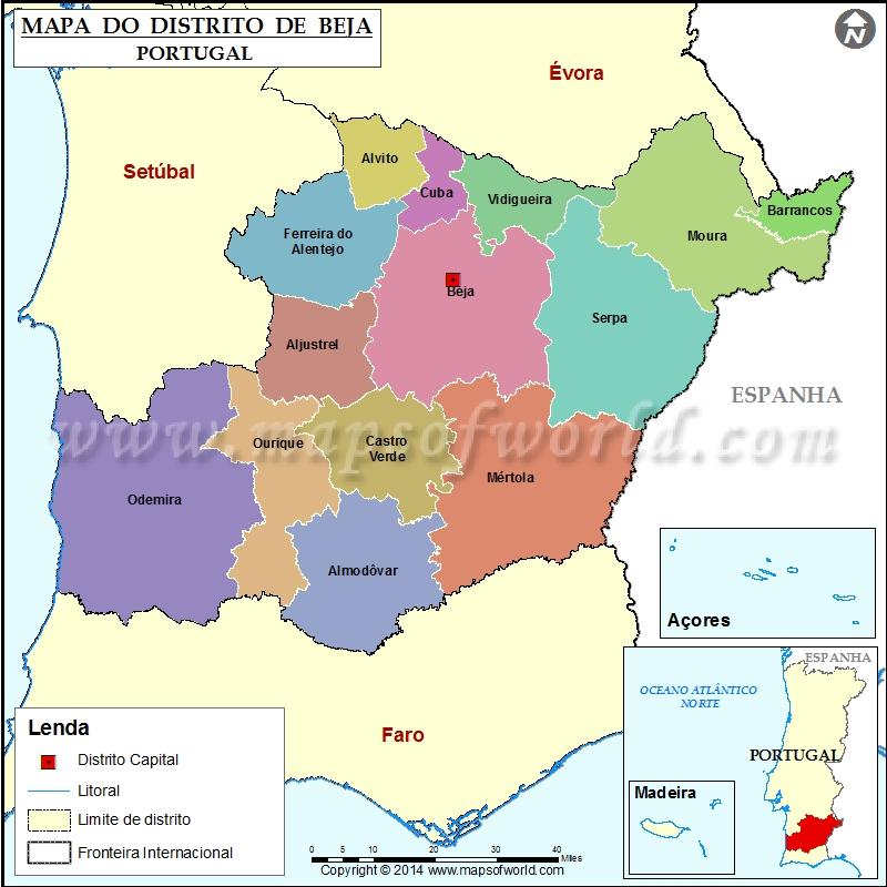 mapa beja Mapa do Distrito de Beja Portugal mapa beja
