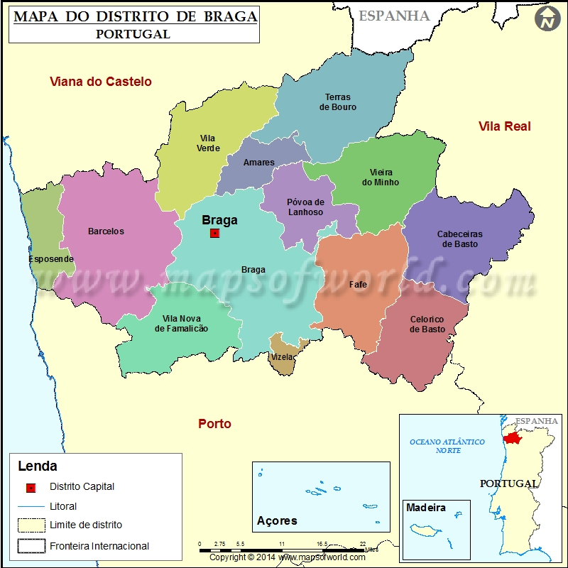 mapa braga Mapa do Distrito de Braga Portugal mapa braga