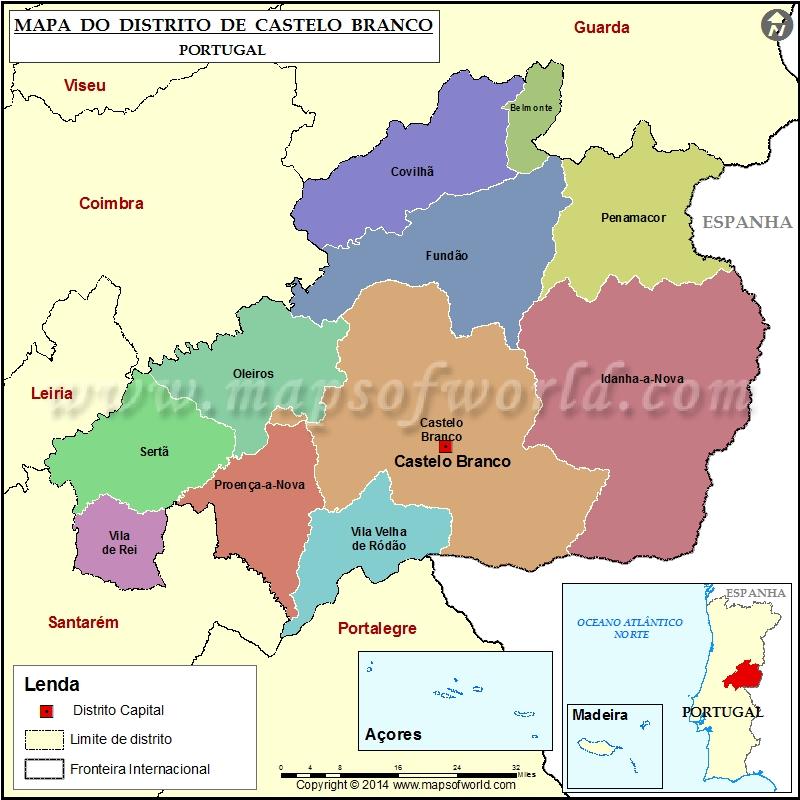 Mapa Do Distrito De Castelo Branco Portugal