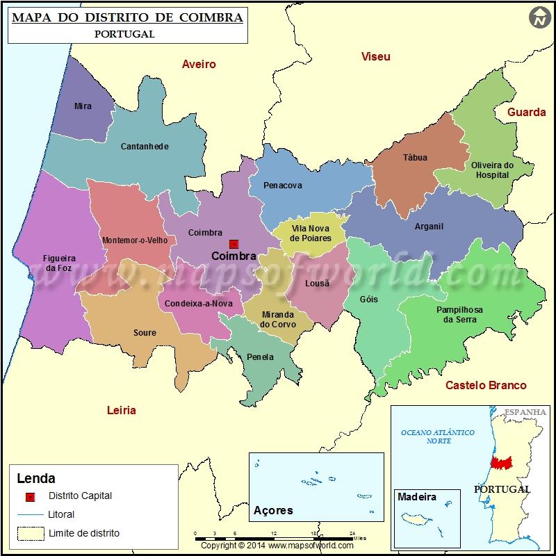 coimbra mapa de portugal Mapa do Distrito de Coimbra Portugal coimbra mapa de portugal