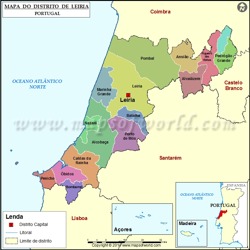 mapa leiria Mapa do Distrito de Leiria Portugal mapa leiria