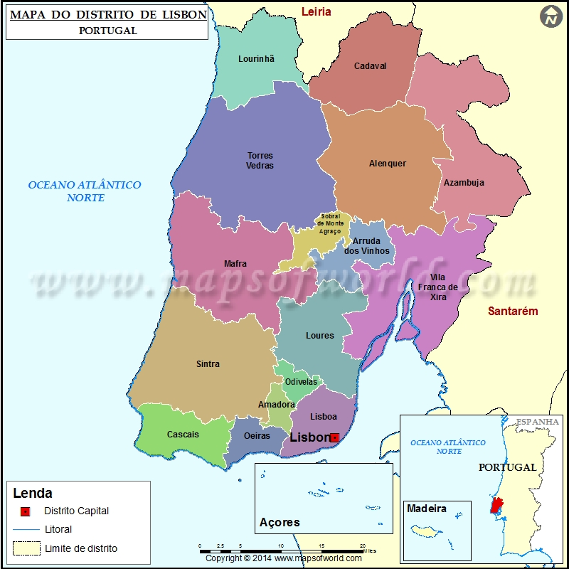 Mapa Do Distrito De Lisbon Portugal