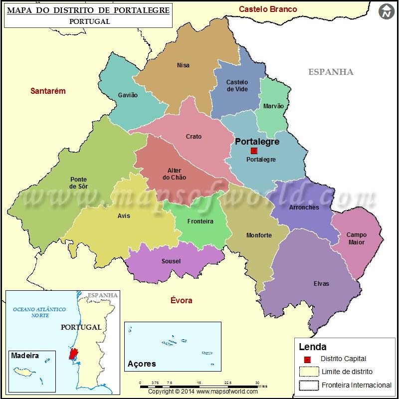 Mapa Do Distrito De Portalegre Portugal