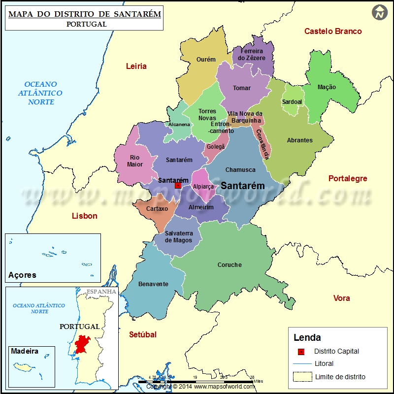 mapa de santarém portugal Mapa do Distrito de Santarém Portugal mapa de santarém portugal