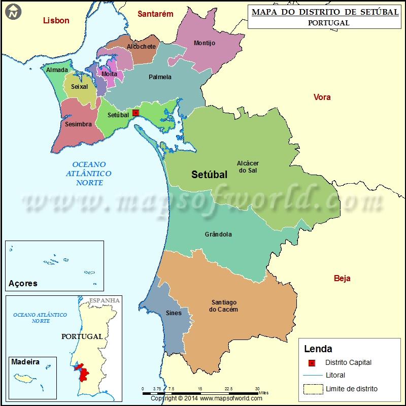 mapa setubal Mapa do Distrito de Setúbal Portugal mapa setubal
