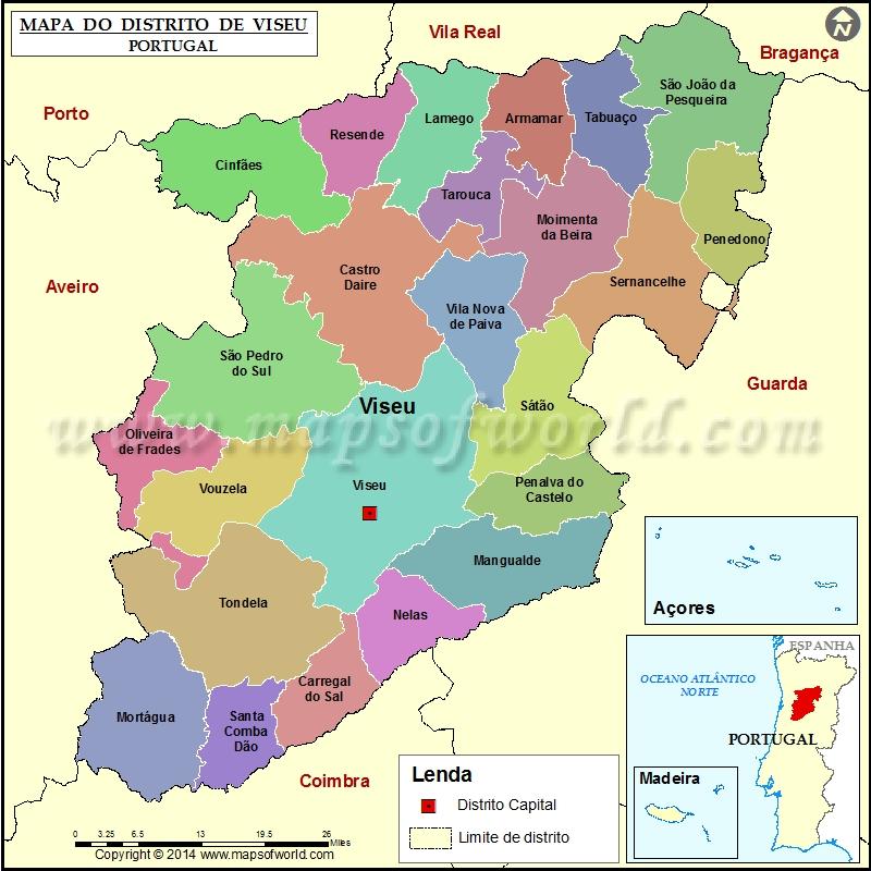 mapa viseu Mapa do Distrito de Viseu Portugal mapa viseu